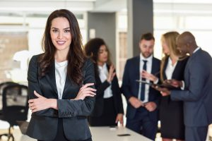 businesswoman leader in modern office with busines GJ582ZH